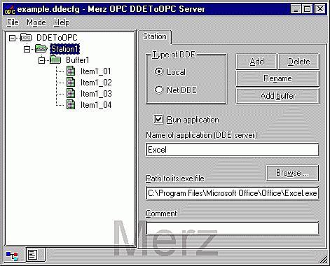 DDEtoOPC Sample Screen
